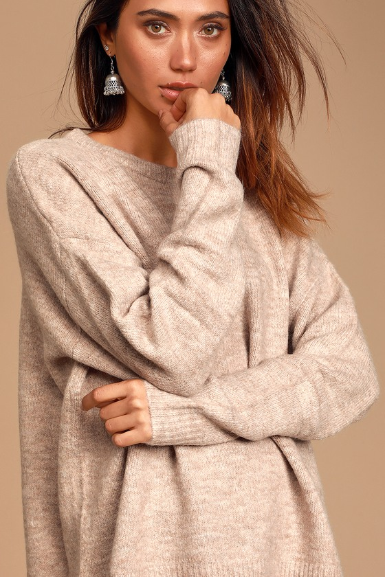 Cozy Moments Heather Beige Oversized Sweater
