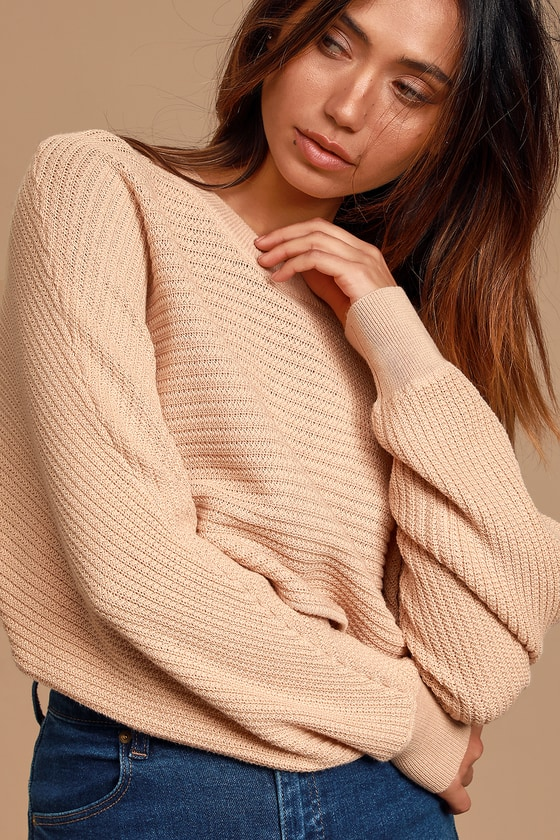 Image of First Choice Tan Knit Dolman Sleeve Cropped Sweater - Lulus