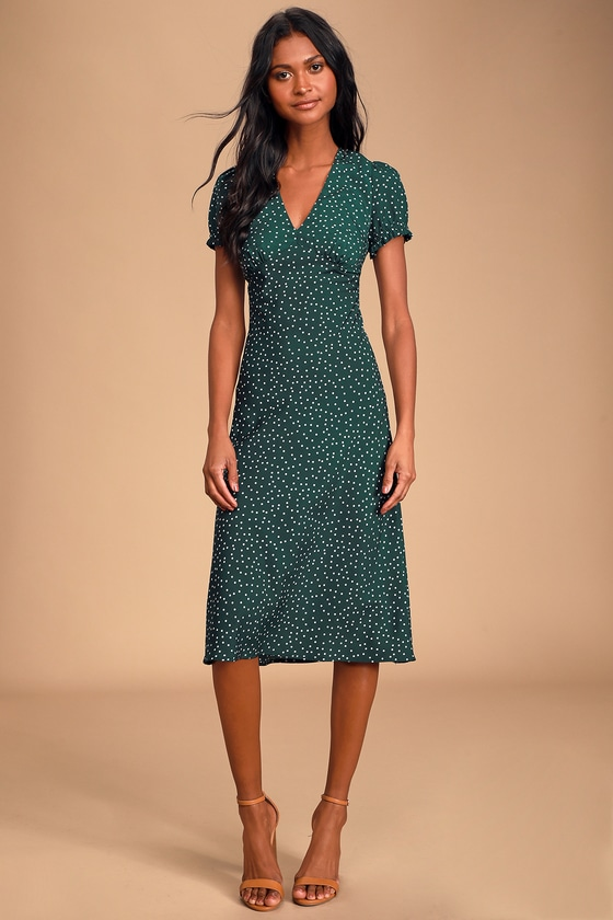Polka Dot Dresses: 20s, 30s, 40s, 50s, 60s Tasteful Treat Green Polka Dot Short Sleeve Midi Dress - Lulus $56.00 AT vintagedancer.com
