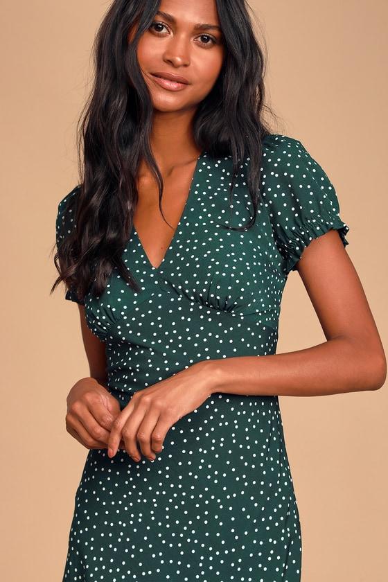 1930s Dresses | 30s Art Deco Dress Tasteful Treat Green Polka Dot Short Sleeve Midi Dress - Lulus $45.00 AT vintagedancer.com