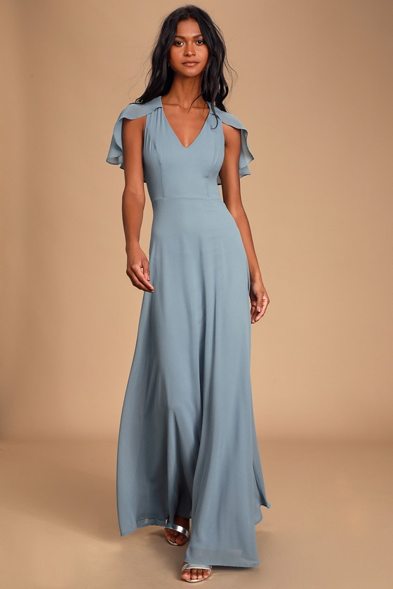 1930s Evening Dresses | Old Hollywood Dress Kadence Slate Blue Chiffon Maxi Dress - Lulus $36.00 AT vintagedancer.com