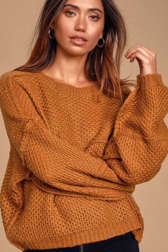 Stay Snuggly Camel Textured Knit Balloon Sleeve Sweater - Lulus