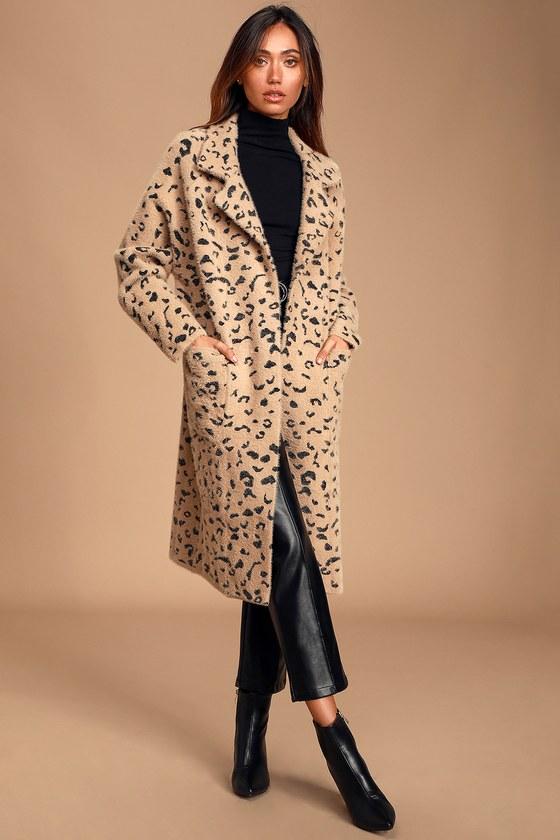 Womens Longline coatigans Ladies Animal Print Open Front Blazer Jacket Cardigan