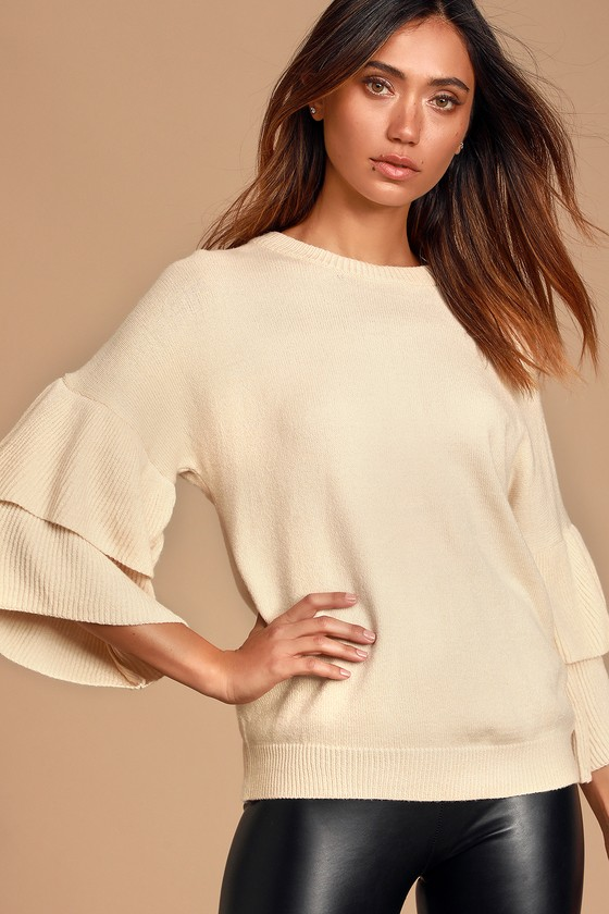 Quinley Cream Ruffle Sleeve Sweater Top - Lulus