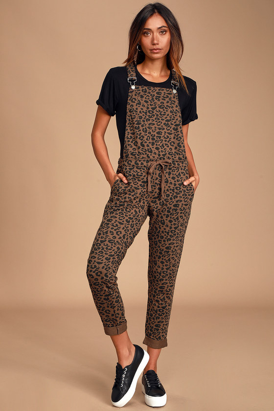 Mureile Brown Leopard Print Knit Overalls - Fall Animal Print