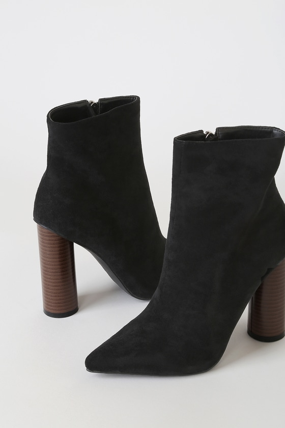 RAID Willa Black Suede Pointed-Toe Ankle Booties