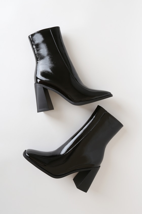 Vintage Boots- Buy Winter Retro Boots Kiaya Black Crinkle Patent Square Toe Mid-Calf High Heel Boots - Lulus $52.99 AT vintagedancer.com