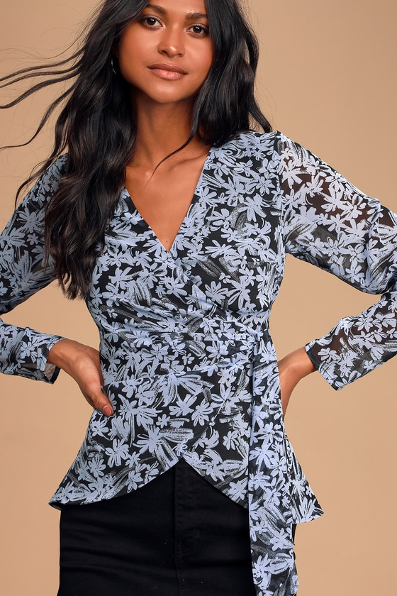 Ina Black And Dusty Blue Floral Print Wrap Top by Lulus