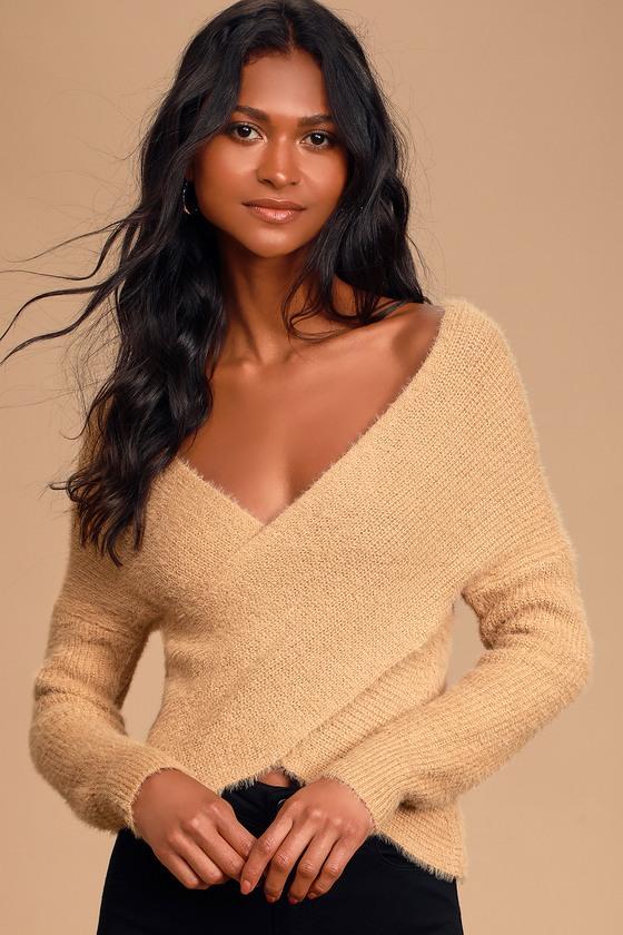 Marah Tan Eyelash Knit Cross Front Sweater - Lulus