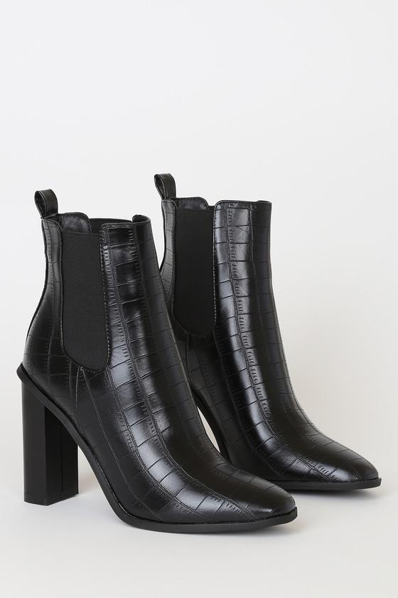 RAID Scarlette-1 Black Crocodile Embossed Ankle Booties