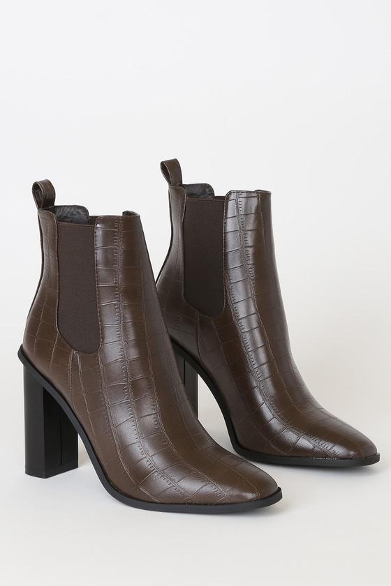 Scarlette-1 Brown Crocodile Embossed Ankle Booties