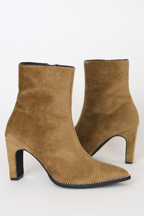 Casper Tan Cord Studded Mid-Calf High Heel Boots