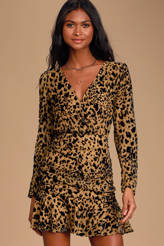 Nikita Burnout Leopard Print Long Sleeve Ruched Mini Dress