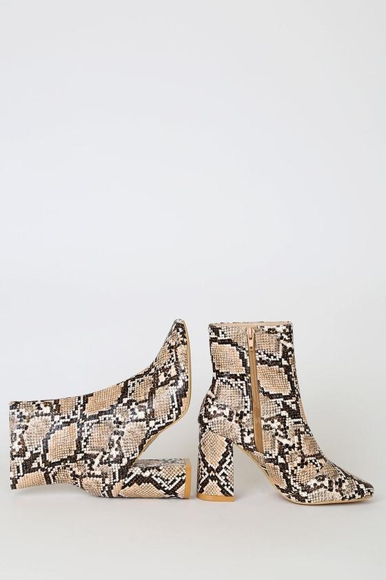 My Generation Tan Snake High Heel Mid-Calf Boots