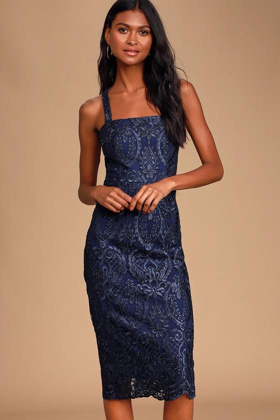 Chic Navy Blue Dress - Lace Midi Dress - Halter Bodycon Dress