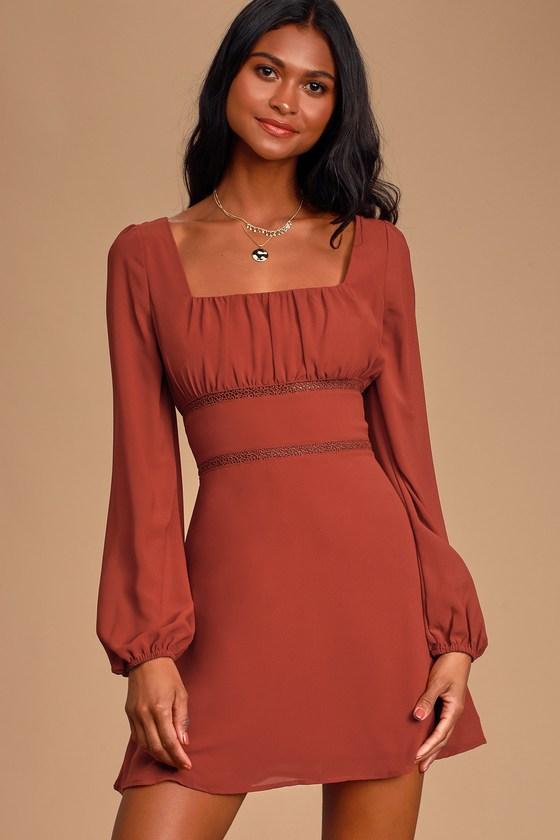 Loving Memories Rust Red Long Sleeve Crochet Lace Skater Dress