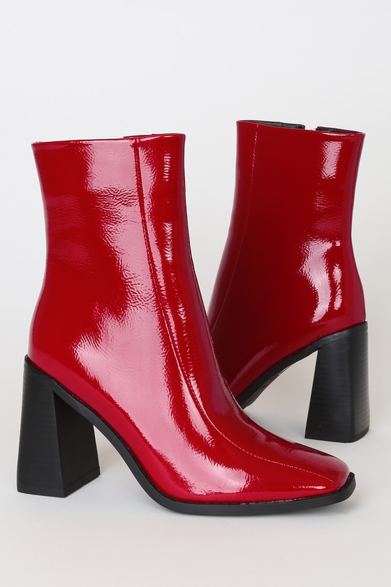 Kiaya Red Crinkle Patent Square Toe Mid-Calf High Heel Boots
