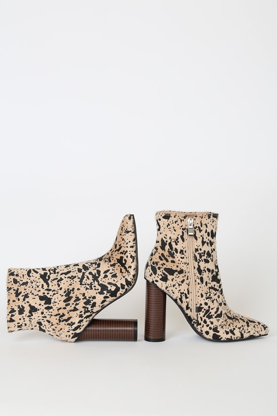 RAID Willa Multi Cow Print Pointed-Toe Ankle Booties