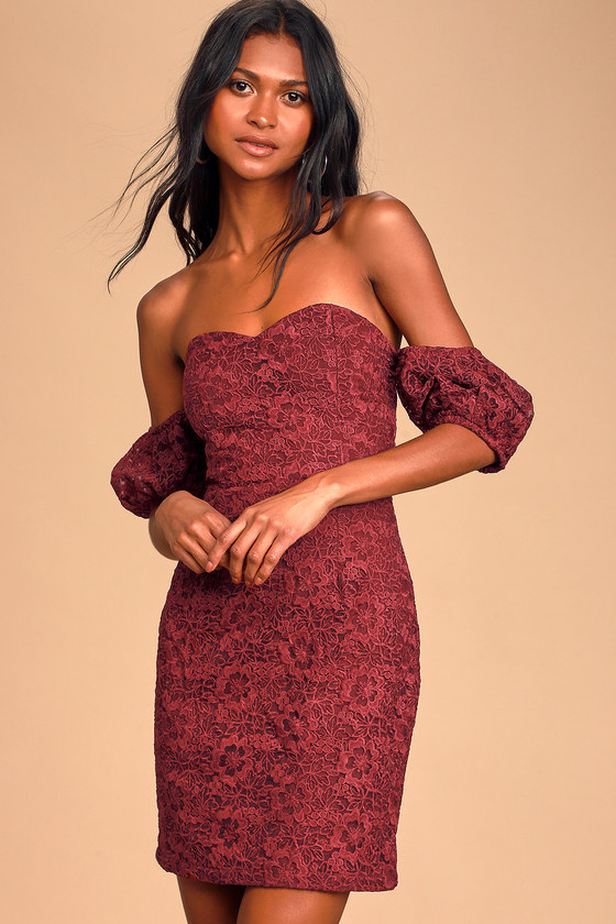 Hartley Burgundy Embroidered Lace Off-the-Shoulder Mini Dress - Lulus