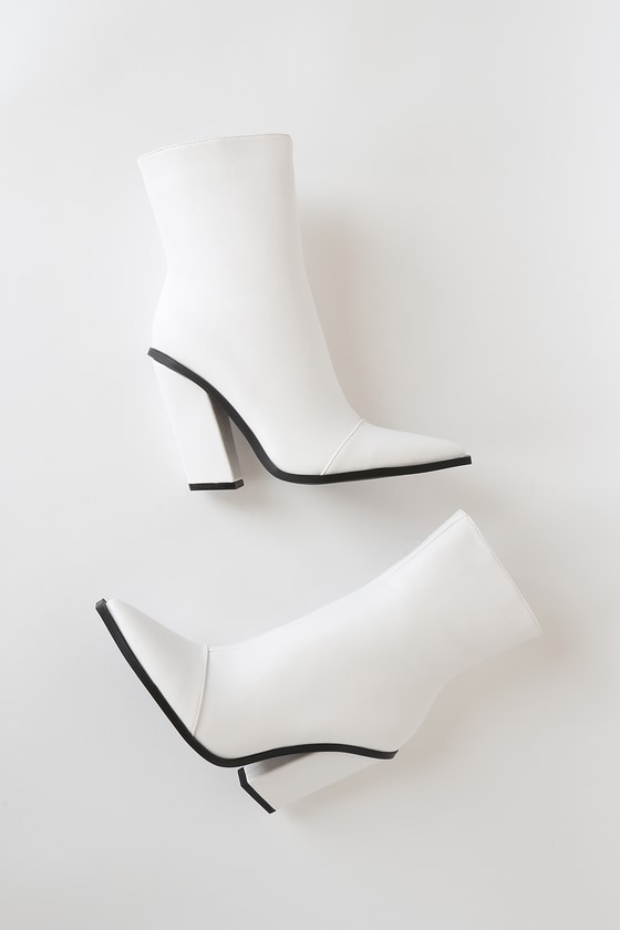 Mirren-1 White Pointed-Toe Mid-Calf High Heel Boots