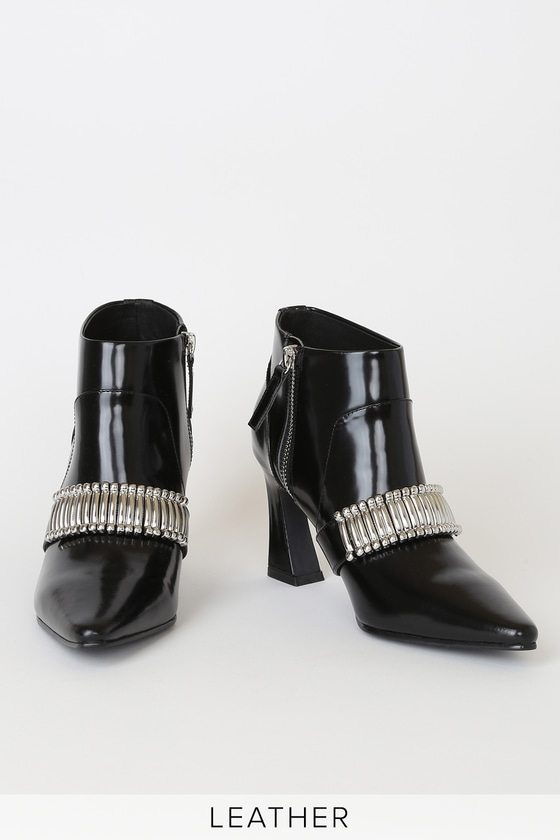 Turner Black Gloss Leather Pointed-Toe Ankle Booties