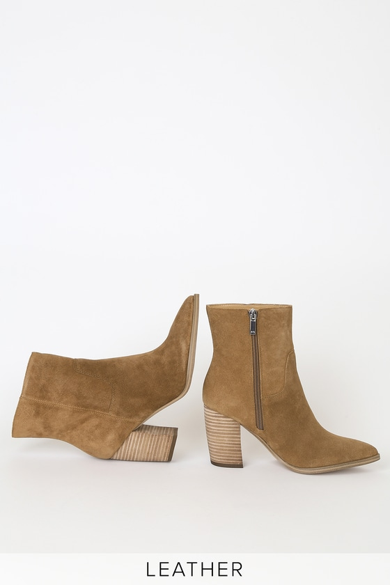 Giana Medium Brown Genuine Suede Leather Pointed-Toe Mid Calf High Heel Boots