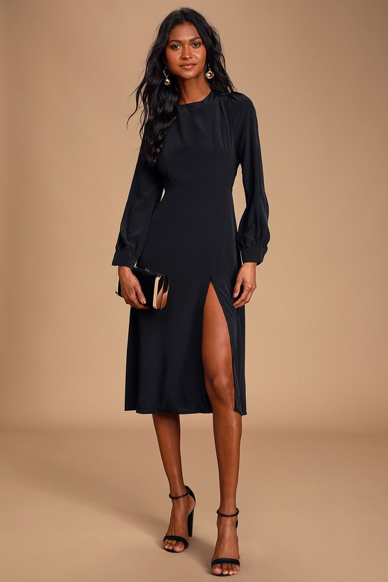 Alemenda Black Backless Long Sleeve Midi Dress
