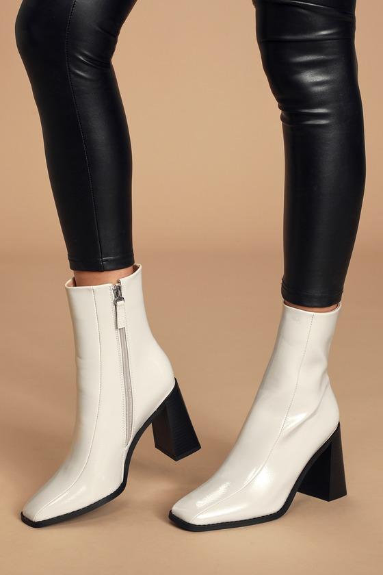 RAID Kiaya Off White Patent Square Toe Mid-Calf High Heel Boots
