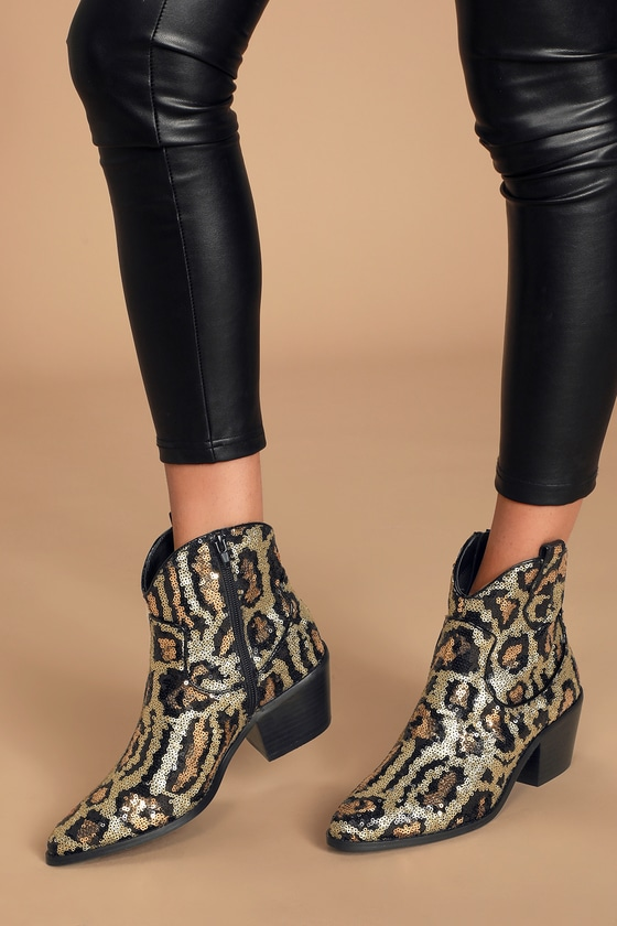 betsey johnson leopard booties