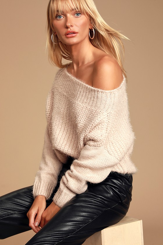 Feeling It Pale Pink Eyelash Knit Off-the-Shoulder Sweater