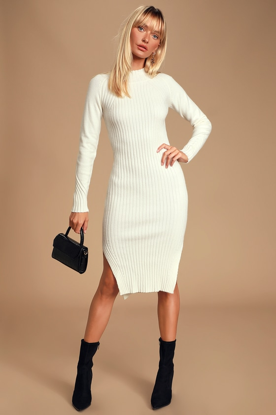 Snuggle Party Ivory Mock Neck Midi Sweater Dress - Lulus