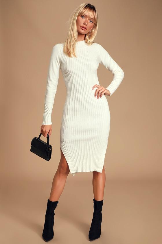 Lazapa Sweater Dress for Women Turtleneck V-Neck Long Sleeve Bodycon Dress Tight Slim Solid Color Mini Dress