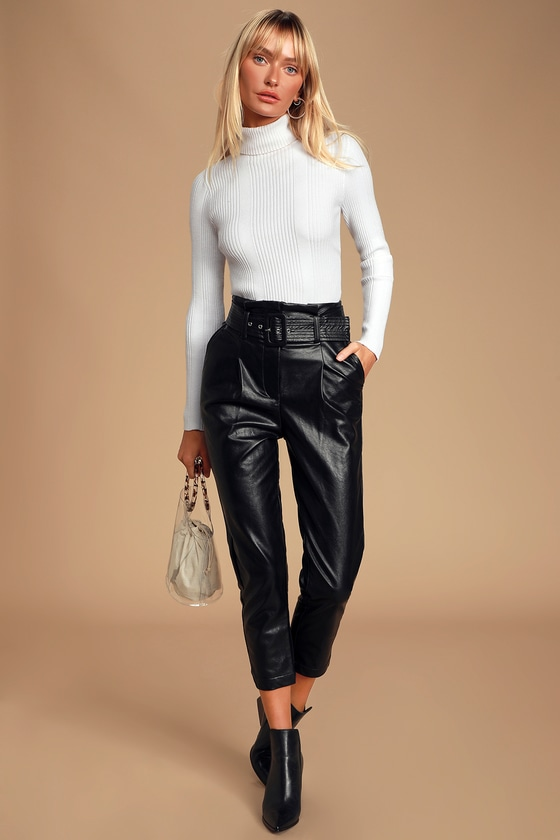 drop-the-beat-black-vegan-leather-belted-pants by joa