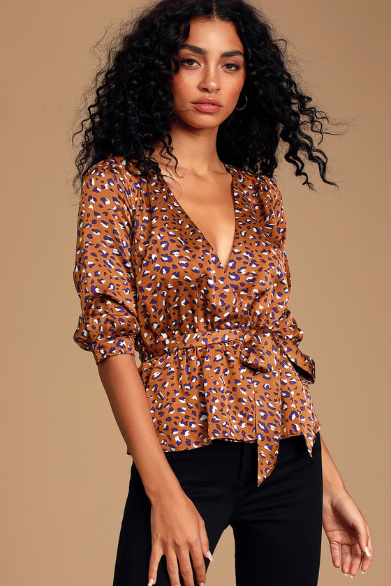 Wild Occasion Brown Multi Leopard Print Satin Top