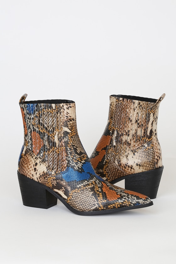 Rocco-1 Multi Crocodile Embossed Pointed-Toe Ankle High Heel Boots