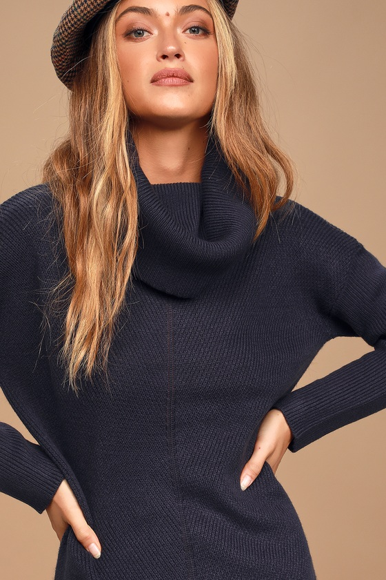NEW Girls Sweater Dress Size XS 4-5 Knit Cowl Neck Belt Winter Gray Black Blue