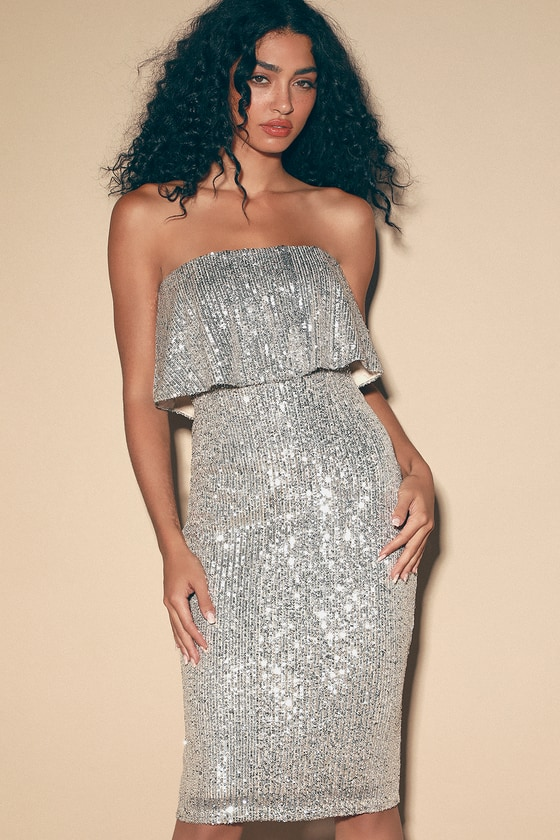 Perfect Kiss Silver Sequin Strapless Midi Dress - Lulus