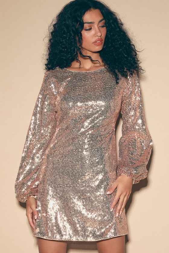 70s Prom, Formal, Evening, Party Dresses Paityn Rose Gold Sequin Balloon Sleeve Mini Dress - Lulus $33.00 AT vintagedancer.com