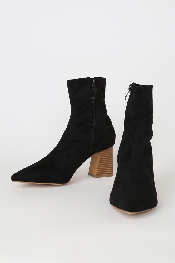 RAID Eva-1 Black Suede Pointed-Toe Sock High Heel Boots
