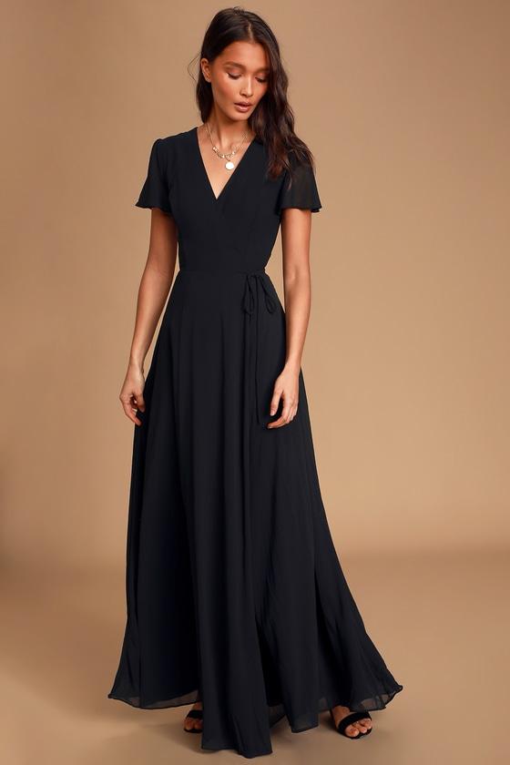 You Re My Everything Black Short Sleeve Wrap Maxi Dress