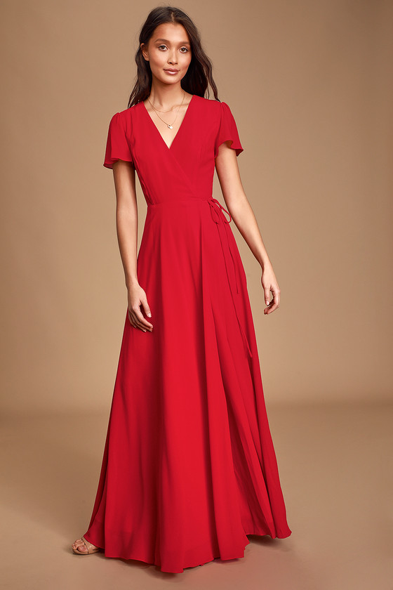 Lovely Red Dress - Maxi Dress - Wrap