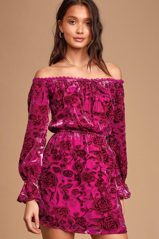 Stolen Kisses Magenta Floral Print Velvet Off The Shoulder Dress by Lulus