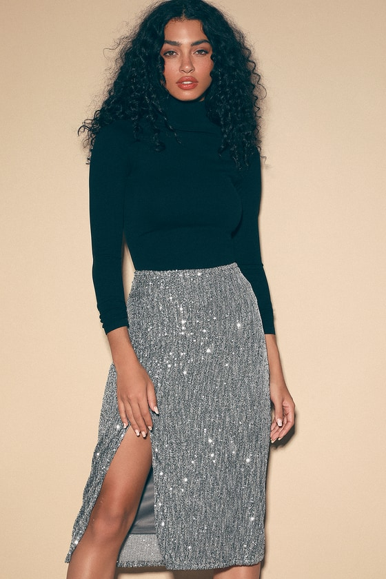 how to buy competitive price pick up Glam Silver Sequin Skirt - Sequin Midi Skirt - Silver Midi Skirt