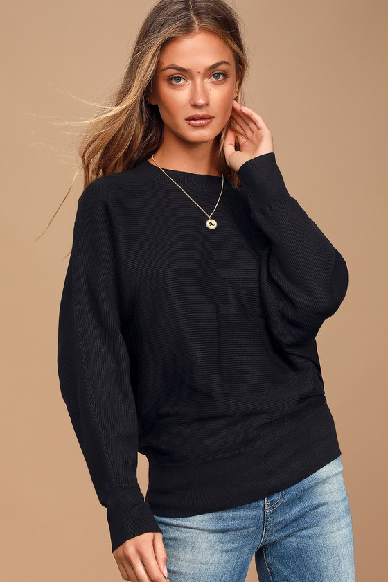 All Wrapped Up Black Ribbed Knit Dolman Sleeve Sweater Top by Lulus Basics