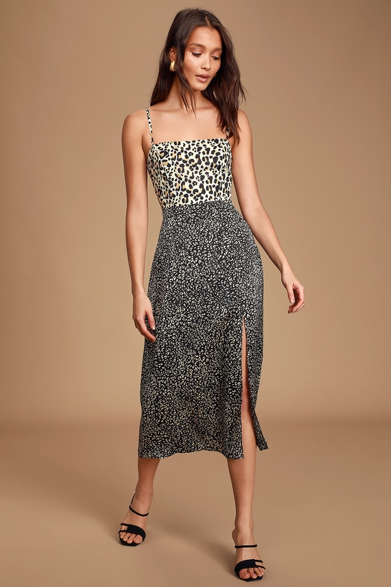 Being Bold Leopard Print Satin Midi Slip Dress - Cat Print Dress