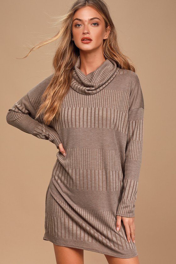Morning Coffee Brown Ribbed Long Sleeve Cowl Neck Dress - Lulus