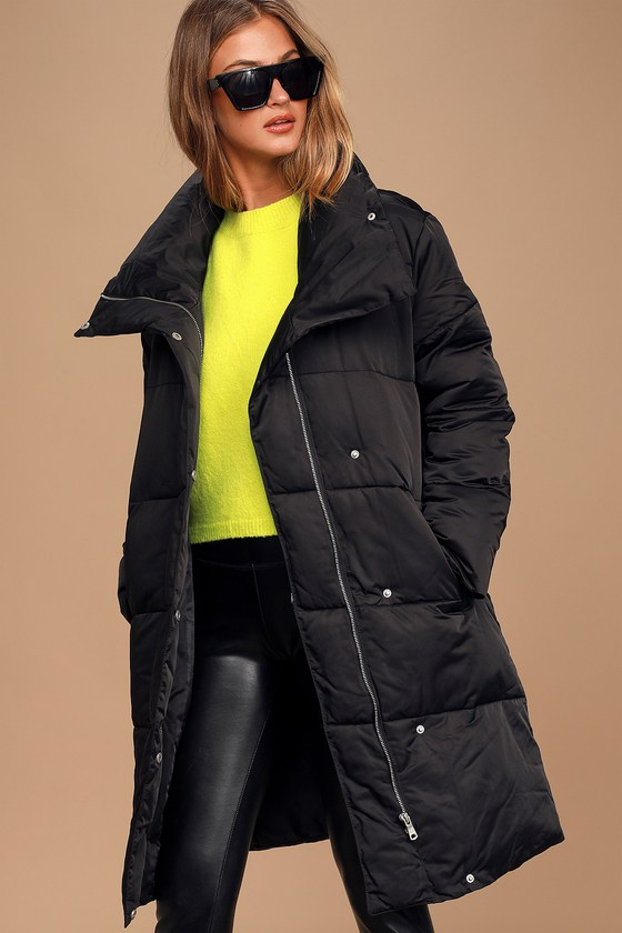 Best Intentions Black Belted Midi Puffer Jacket