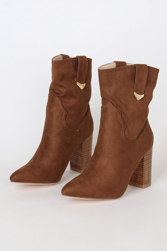 Taryne Taupe Suede Pointed-Toe Booties