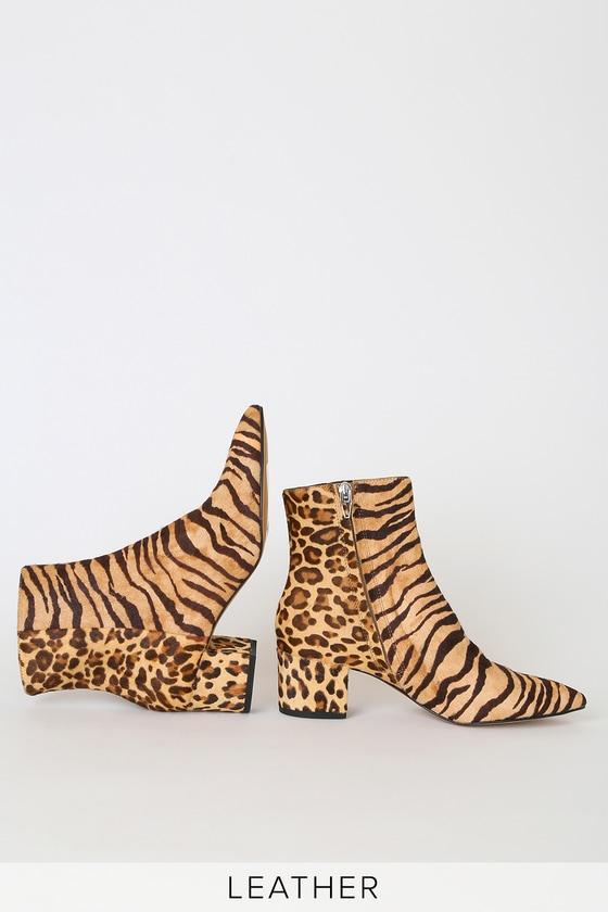 Bel Tiger Multi Calf Hair Pointed-Toe Ankle Booties