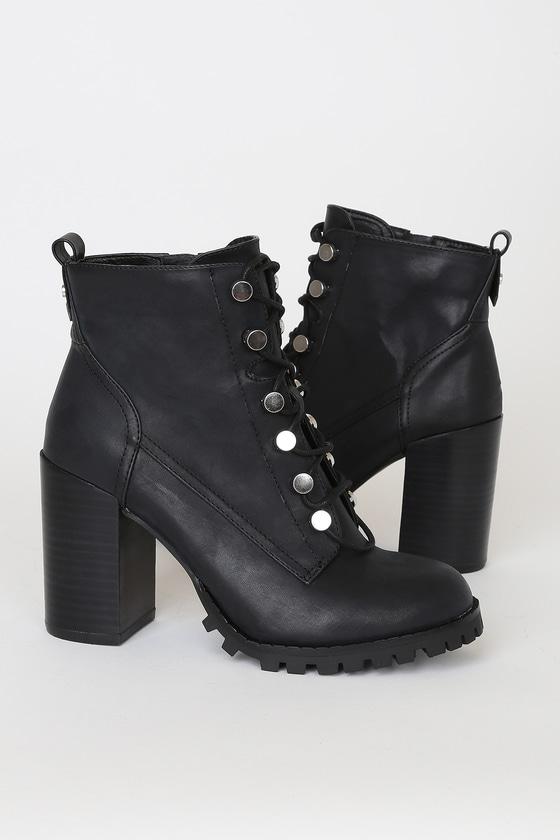 Archer Black Lace-Up Platform Ankle High Heel Boots